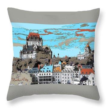 Quebec City Canada Poster Throw Pillow