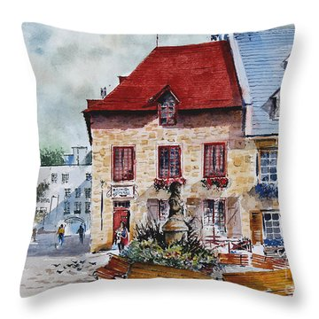 Quebec City Flower Boxes Throw Pillow
