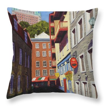 Quebec City Side Street Throw Pillow