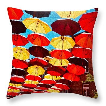 Throw Pillow featuring the painting Raining Umbrellas by Joan Reese