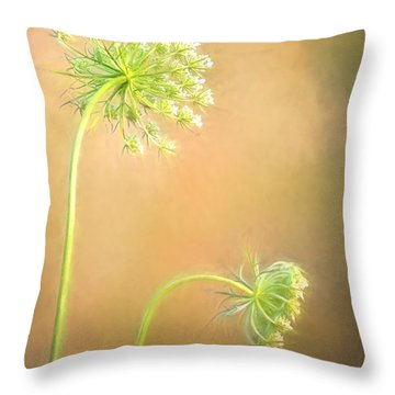 Queen Anne's Lace Throw Pillow by Laurinda Bowling
