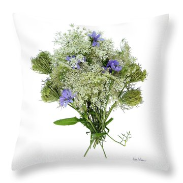 Queen Anne's Lace With Purple Flowers Throw Pillow by Lise Winne