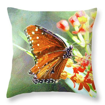Queen Butterfly Throw Pillow by Inspirational Photo Creations Audrey Woods