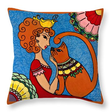 Throw Pillow featuring the painting Queen by Caroline Sainis
