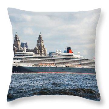 Queen Elizabeth Cruise Ship At Liverpool Throw Pillow