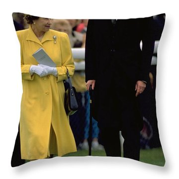 Queen Elizabeth Inspects The Horses Throw Pillow