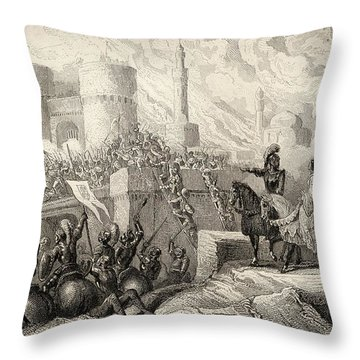 Queen Isabella In Front Of The Walls Of Throw Pillow