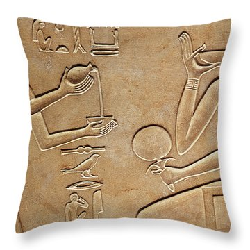 Queen Kawit At Her Toilet Throw Pillow by Egyptian school