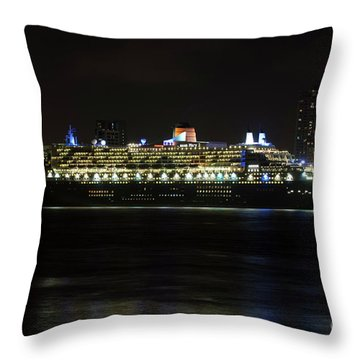 Queen Mary 2 At Night In Liverpool Throw Pillow