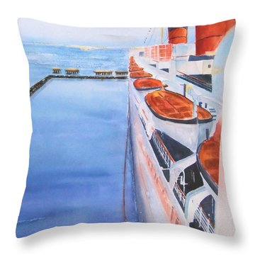 Queen Mary From The Bridge Throw Pillow by Debbie Lewis
