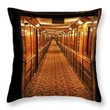 Throw Pillow featuring the photograph Queen Mary Hallway by Mariola Bitner