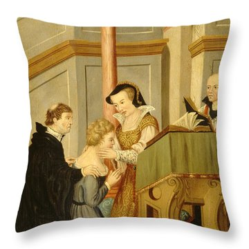 Queen Mary I Curing Subject With Royal Throw Pillow