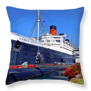 Queen Mary Ship Throw Pillow
