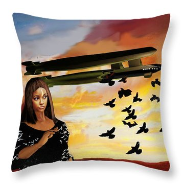 Queen Of Crows Sketch Throw Pillow