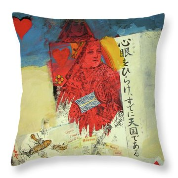 Throw Pillow featuring the mixed media Queen Of Hearts 40-52 by Cliff Spohn