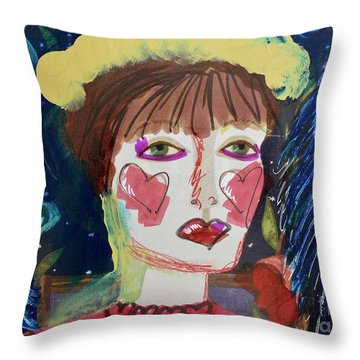 Throw Pillow featuring the painting Queen Of Hearts by Kim Nelson