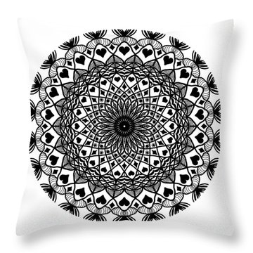 Queen Of Hearts King Of Diamonds Mandala Throw Pillow