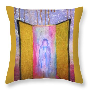 Throw Pillow featuring the painting Queen Of Heaven by Mary Ellen Frazee