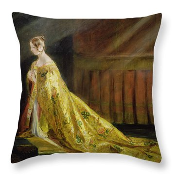 Queen Victoria In Her Coronation Robe Throw Pillow by Charles Robert Leslie