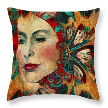 Throw Pillow featuring the digital art Queenie by Alexis Rotella