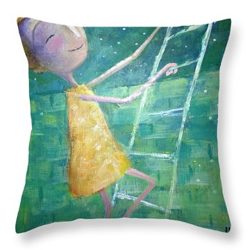 Throw Pillow featuring the painting Queens Climb Higher by Eleatta Diver