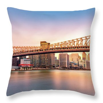 Queensboro Bridge At Sunset Throw Pillow
