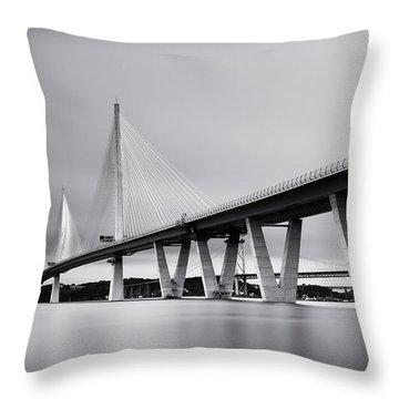 Queensferry Crossing Bridge Mono Throw Pillow