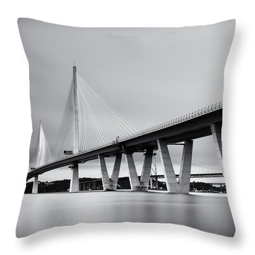 Queensferry Crossing Bridge Mono Throw Pillow