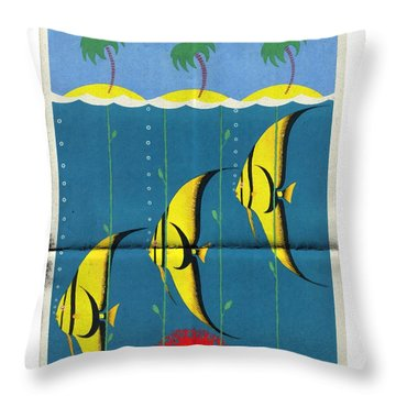 Queensland Great Barrier Reef - Vintage Poster Folded Throw Pillow