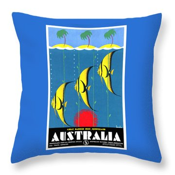 Queensland Great Barrier Reef - Restored Vintage Poster Throw Pillow