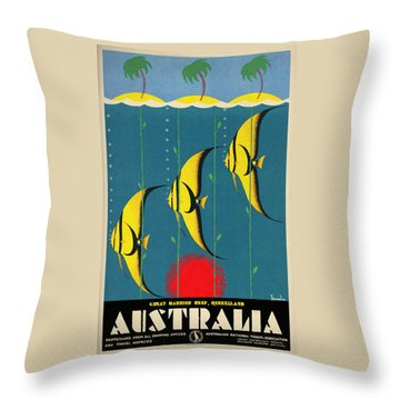 Queensland Great Barrier Reef - Vintage Poster Vintagelized Throw Pillow