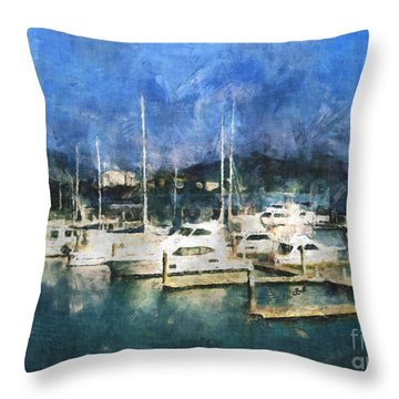 Throw Pillow featuring the photograph Queensland Marina by Claire Bull