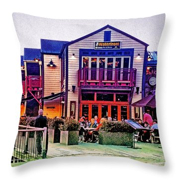 Throw Pillow featuring the photograph Queenstown Waterfront At Sunset by Kathy Kelly