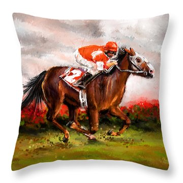 Quest For The Win - Horse Racing Art Throw Pillow