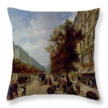 Queueing At The Door Of A Grocery Throw Pillow by Jacques Guiad