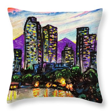 Throw Pillow featuring the painting Quick Sketch - Denver by Aaron Spong