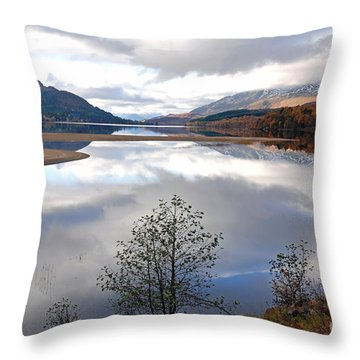 Quiet Autumn Day - Loch Laggan Throw Pillow