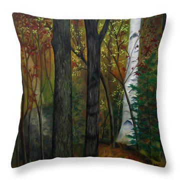 Quiet Autumn Woods Throw Pillow