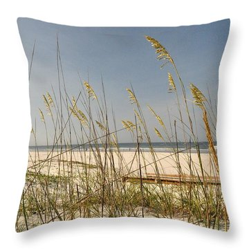 Quiet Beach Throw Pillow