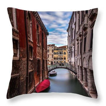 Throw Pillow featuring the photograph Quiet Canal In Venice by Andrew Soundarajan