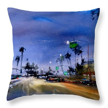 Quiet Night In Newport Beach Throw Pillow