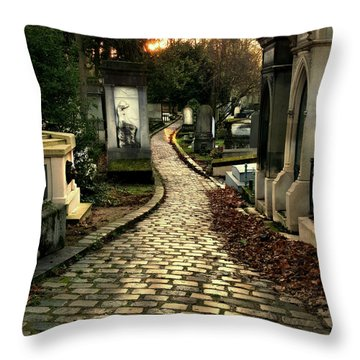 Pere Lachais Cemetery Road Throw Pillow by Katie Wing Vigil