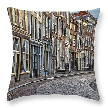 Quiet Street In Dordrecht Throw Pillow