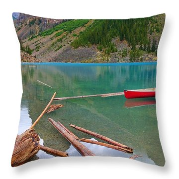 Moraine Lake I, Alberta Throw Pillow