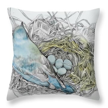 Throw Pillow featuring the drawing Quiet Time by Rose Legge