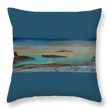 Throw Pillow featuring the painting Quiet Tropical Waters by Rod Jellison