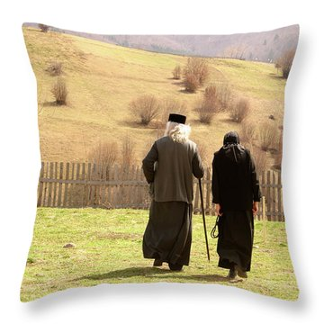 Quiet Walk At The Monastery Throw Pillow