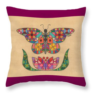 Quilted Butterfly Throw Pillow