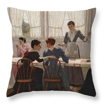 Quilting Party  Throw Pillow