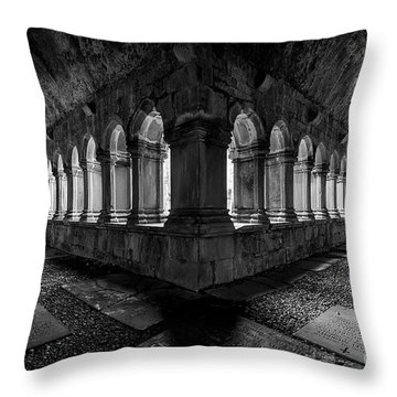 Throw Pillow featuring the photograph Quin Abbey by Dennis Hedberg